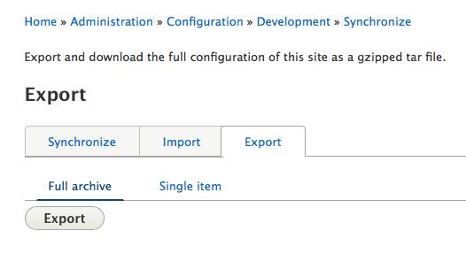 Configuration export